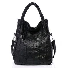 """Funnie Womens Soft Leather Shoulder Bags Tote Handbags - Convertiable Satchel 2 In 1 2015 Designer - Vintage Handmade Plait Handles (Black). Well made in quality split sheepskin leather, clean with soft dry cloth. Comfortably holds tablet,organizer,cosmetics and other small items for work, school, travel,etc. Removable and adjustable shoulder straps. Two top Handmade Plait handles. Zipper closure, interior and exterior zipper pockets. 13""""Lx16""""Wx3.5""""H, 0.7kg, Black or Brown."""
