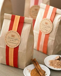 Gift Wrapping Ideas. These gift giving bags are lovely for blends of coffee, tea, spices, etc...