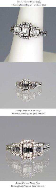 """A very pretty and unique type of diamond ring called a """"Mosaic"""" pattern. Shown in this picture is a 3 stone variety www. 2 Carat Diamond Ring, Diamond Gemstone, Diamond Wedding Rings, Diamond Engagement Rings, Jewelry Trends 2018, Types Of Diamonds, Pretty Rings, Love Ring, Bridal Rings"""