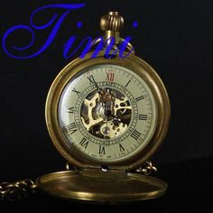 old brass Pure Copper Train Skeleton Mechanical Pocket Watch