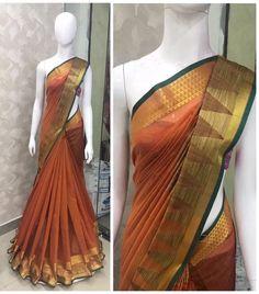 Cotton Saree Designs, Silk Cotton Sarees, Pure Silk Sarees, Saree Styles, Blouse Styles, Blouse Designs, Indian Beauty Saree, Indian Sarees, Sarees For Girls