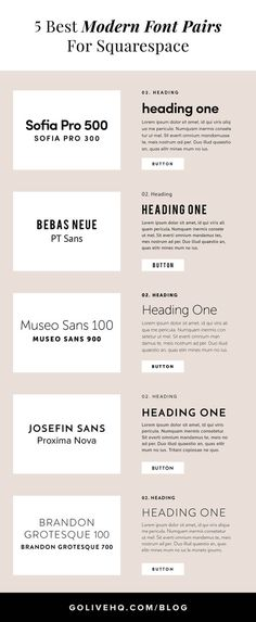 5 Best Modern Font Pairs For Squarespace | We recommend font pairings because you really don't want to overwhelm your audience with too much change. Sticking to fewer fonts makes it WAY easier to keep it simple, keep it readable and keep it clean.