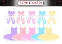 Colorful Ballerina Tutu Dresses and Shoes Set 2 in a PNG format. Personal & Small Commercial use