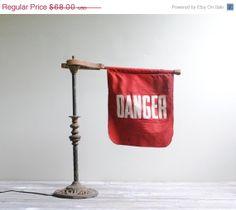 45 OFF SALE Vintage Danger Flag by LittleDogVintage on Etsy, $37.40
