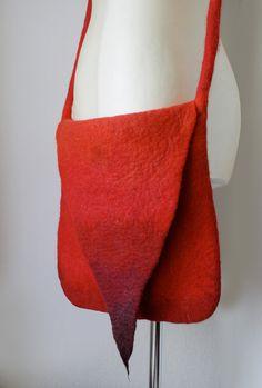 Pointy Red Messenger Shoulder Felted Bag Hand felted by Vaivanat.