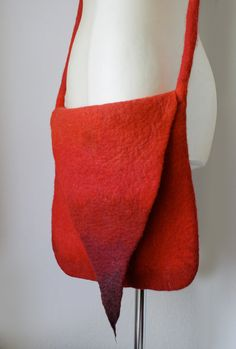 Pointy Red Messenger Shoulder Felted Bag Hand felted by Vaivanat.