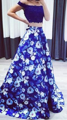 sexy prom dresses, royal blue prom dresses, printed prom dresses, floral prom gowns