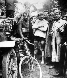 The finish at the first ever Tour de France in 1903. On the right is the winner of the race, Maurice Garin.