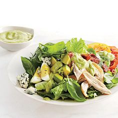 Smoked Chicken Cobb Salad with Avocado Dressing | CookingLight.com #myplate #protein #vegetables #dairy