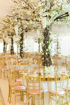 Table trees for inside marquee
