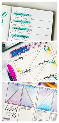 Collage of Weekly Spreads - Weekly Layouts - Bullet Journal Ideas - Weekly Planner