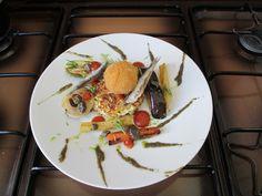 JHS / Lègumes  grillèe et omelette aux tapenade de olive noir avec croquette de pomme de terre Gino D'Aquino