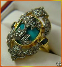 Antique Style 1.27 Ct Rose Cut Diamond Turquoise Ring PAYPAL ACCEPTED