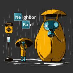 My Neighbor Totoro meets Breaking Bad. Bad Neighbors, Nerd Art, My Neighbor Totoro, Geek Gifts, Marvel Dc Comics, Breaking Bad, Studio Ghibli, Pattern Wallpaper, Pikachu