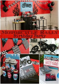 Amazing motorcycle birthday party that is sure to delight! Motorcycle Birthday Parties, Biker Birthday, Dirt Bike Party, Dirt Bike Birthday, Motorcycle Party, Motocross Birthday Party, 1st Birthday Boy Themes, Birthday Party Design, 4th Birthday Parties