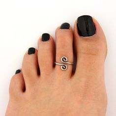 toe ring sterling silver toe ring curled swirl by Silversmith925, $11.00