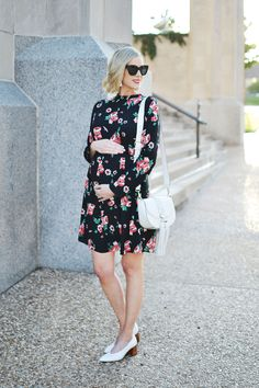 dark floral dress, white tassel bag, white granny heels, the perfect fall transition dress, stylish maternity outfit