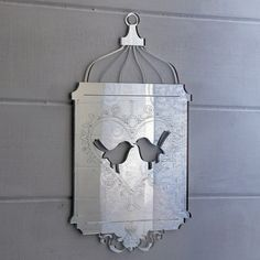 15cm Shabby Chic Bird Cage Acrylic Mirror - Heart Birds in Home, Furniture & DIY, Home Decor, Mirrors | eBay