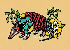 Old School Tattoo ARMADILLO Mexican Folk Art by illustratedink