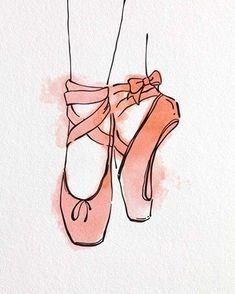 Easy Drawings Framed Ballet Shoes En Pointe Orange Watercolor Part III Print Ballet Drawings, Ballet Shoes Drawing, Shoe Drawing, Art Ballet, Ballet Room, Happy Art, Shoe Art, Painting & Drawing, Simple Watercolor Paintings