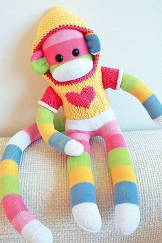 Sock Monkey Baby Stuffed animal,plush,original Rockford socks ToddlerKid toy.