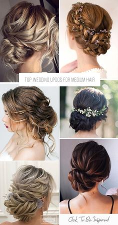 30 Top Wedding For Medium Hair ❤ Wedding updos for medium hair will be one of the best solutions, they always look trendy and romantic. Pick the most appropriate variant from our new list! Up Dos For Medium Hair, Medium Hair Styles, Curly Hair Styles, Short Wedding Hair, Wedding Updo, Wedding Dress, Natural Hair Updo, Natural Hair Styles, Curly Prom Hair