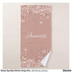 Name Sparkly Glitter Drips Pink Rose Gold Pastel Bath Towel Glitter Home Decor, Rose Gold Glitter, Artwork Design, Bath Towels, Print Design, Girly, Pastel, Sparkles, Prints