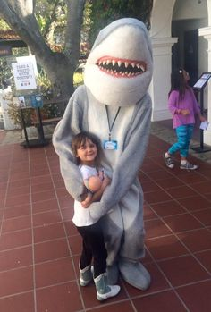 Toothy the #Shark & Bella at the recent Membership party for the ‪#‎Megalodon‬ opening. http://www.sbnature.org/members/57.html
