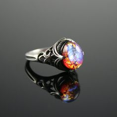 Dragon's Breath Opal Antique Estate Style by CGriffinJewelry $95  Vintage, Mexican Opal, Sterling Silver, Bold, Unusual