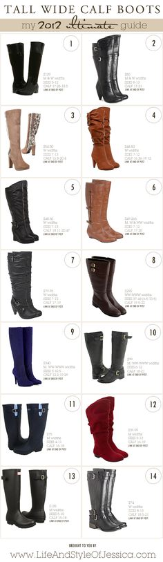2012 Ultimate Guide | TALL WIDE CALF BOOTS ~ Life & Style of Jessica Kane { a body acceptance and plus size fashion blog }