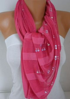 Hot Pink Scarf Shawl Scarf  Cowl Scarf Bridesmaid Gift Gift Ideas for Her Women Fashion Accessories Christmas Gift