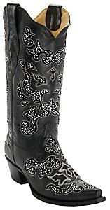 Corral® Women's Black w/ Crystal Inlay Snip Toe Western Boots