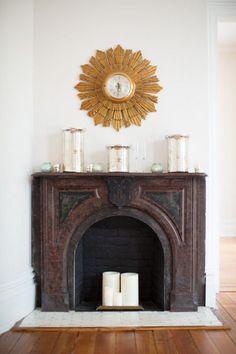 Rustic fireplace decor: http://www.stylemepretty.com/living/2014/10/14/behind-the-scenes-gather-together/ | Photography: Katherine Miller Jones -http://www.katherinemilesjones.com/: