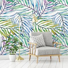 Produkty podobne do Colorful Palm Print Wallpaper, Tropical Interior Design, Green, Purple and Blue Leaf Wallpaper w Etsy Palm Leaf Wallpaper, Wallpaper Paste, Print Wallpaper, Removing Old Wallpaper, Tropical Interior, Interior And Exterior, Interior Design, Blue Leaves, Wall Decals
