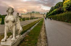 Belvedere Palace Vienna Austria, Palace, Lion Sculpture, Sidewalk, Statue, Walkway, Palaces, Sculpture, Mansion
