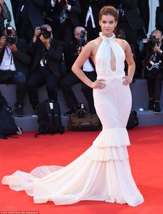 The white stuff: Barbara Palvin showed off her stunning figure in keyhole gown…