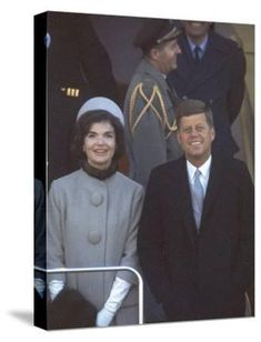 'President John F. Kennedy Standing with Wife Jackie After Their Arrival at the Airport' Photographic Print - Art Rickerby | Art.com