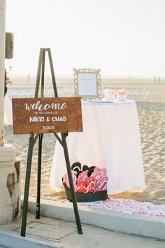 Vibrant outdoor beach house wedding. Cheerful, bright florals. Romantic, whimsical, and adventurous. Planned by Best Bride.  www.bestbride.la www.instagram.com/bestbride_ #wedding #beach #outdoor #colorful #california #welcome #sign
