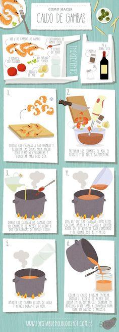 Cómo hacer un caldo de gambas - #receta #ilustrada