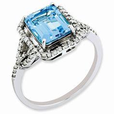 Sterling Silver Diamond & Light Swiss Blue Topaz Ring – Goldia.com