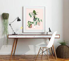 plant party modern botanical plant art print. Fine art print.
