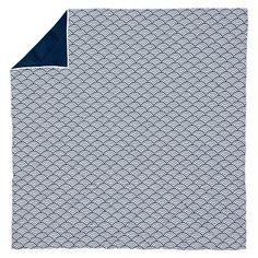 Quincy Scallop Super Pouf Comforter + Sham, Royal Navy   PBteen