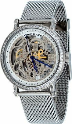 Adee Kaye #AK6463-M Men's Stainless Steel Mesh Bracelet Skeleton Dial Bling Automatic Watch Adee Kaye. $153.94. Water Resistant - 30M, Transparent Case Back. 21 Jewels LeBauches 2100 Automatic Movement. Mineral Crystal, Blue Hands, Transparent Case Showing Inner Mechanicals. Stainless Steel Case and Band, Regular Conect Type Clasp. Case Size:  43.25mm Diameter, 13.5mm Thickness. Save 59% Off!