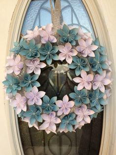 Origami wedding or white christmas paper wreath                                                                                                                                                      More
