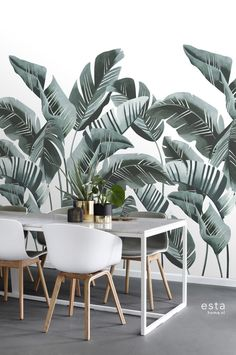 Hertex Fabrics is s fabric supplier of fabrics for upholstery and interior design Tropical Wallpaper, Wallpaper Panels, Trendy Wallpaper, Dinning Table, Shades Of Green, Cool Furniture, Wall Murals, Room Decor, Interior Design