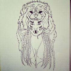 #tarot #strength #portrait #drawing #illustration #lion #headdress #bones