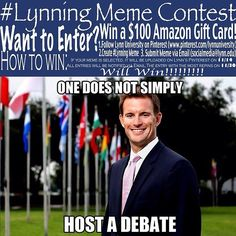 At Lynn, we are always #lynning! Do you think you have what it takes to win the #Lynning Meme Contest? Winner will receive a $100 Amazon gift card! Contest Rules: 1. Follow Lynn University on Pinterest 2. Create a #lynning meme 3. Submit meme via email to socialmedia@lynn.edu. How To Win: If your meme is selected, it will be uploaded to Lynn's Pinterest on 11/14. All entries will be notified via email. The entry with the most repins on 11/30 will win!