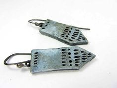 Tie Blue Earrings - Rustic Artisan Ceramic Earrings No. 247 - pinned by pin4etsy.com