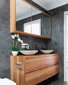 16 Ideas Bathroom Remodel Ideas White Interior Design For 2019 White Vanity Bathroom, Wood Bathroom, Bathroom Wall Decor, Modern Bathroom, Bathroom Black, Bathroom Ideas, Mirror Bathroom, Bedroom Modern, Black Vanity
