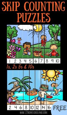 FREE Summer skip counting puzzles are a fun way to practice counting by 1s, 2s, 5s and 10s! LOW PREP! Perfect for back to school, math centers, summer learning, homeschool, and extra practice for preschool, prek, kindergarten, and first grade